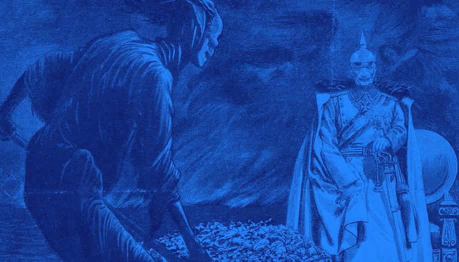 Rycina w niebieskich kolorach - żołnierz z bitwy pod Verdun